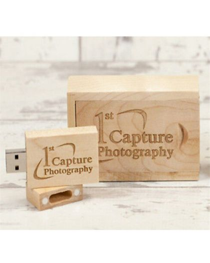 Personalised Wooden rectangle usb with small presentation box (Maple)