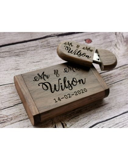 Personalised wedding usb with wooden box for photographers by engraved heaven