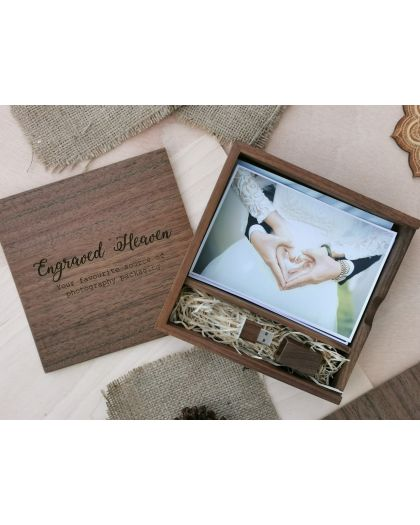 Personalised wooden photo album box with crystal usb for wedding photographer packaging