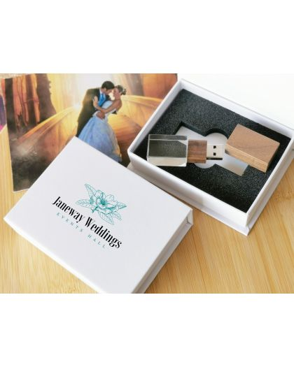 Full colour printing - Personalised Wooden rectangle/crystal usb with white presentation box logo